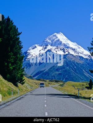 Der Weg zum Mount Cook Neuseeland - Stockfoto