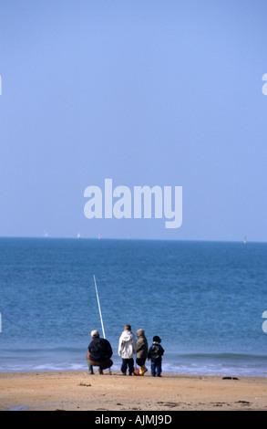 Familie Kinder Eltern Menschen Angeln - Stockfoto
