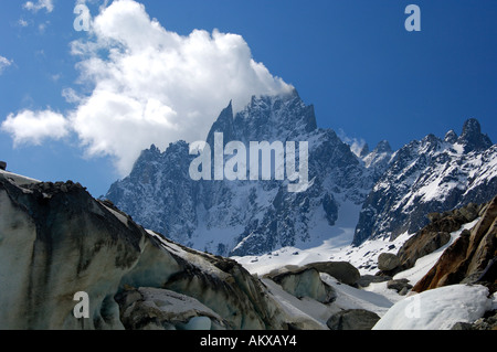 , Aiguille De La Republique, Aiguille des Grand Charmoz, Haute-Savoie-Frankreich - Stockfoto