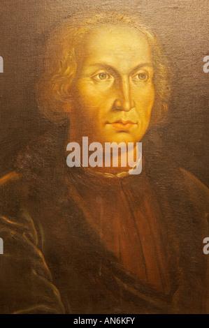 Porträt von Christopher Columbus (von unbekannten Künstler) in La Casa Museo Colon in Las Palmas, Gran Canaria, - Stockfoto
