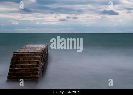 Treppe ins Meer, Novigrad, Istrien, Kroatien, Europa - Stockfoto