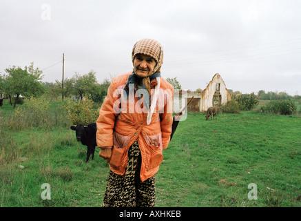 Porträt von alte Frau von Rindern in Bosnien, Mitteleuropa - Stockfoto