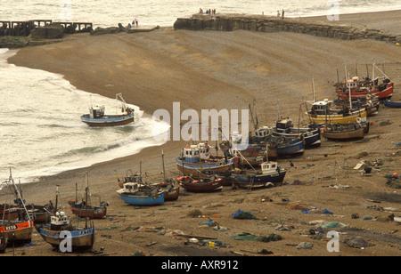 Hastings-Fischerei-Industrie England Sussex UK. Ca. 1985 HOMER SYKES - Stockfoto