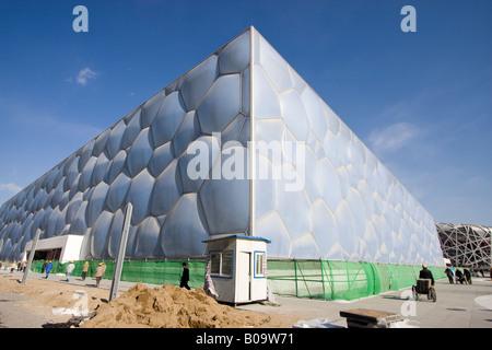 Beijing National Aquatics Center, auch bekannt als Water Cube, gebaut für die Olympischen Sommerspiele 2008. - Stockfoto