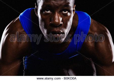 Läufer auf Rennstrecke auf seine Marke - Stockfoto