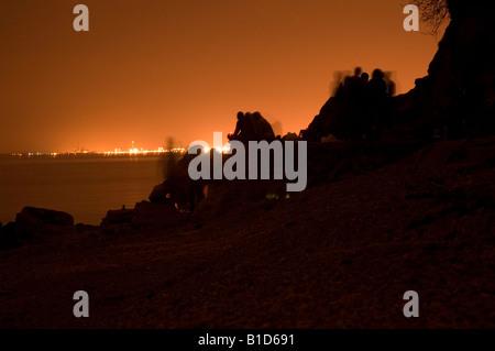Sonnenuntergang an einem Privatstrand in Bristol - Stockfoto