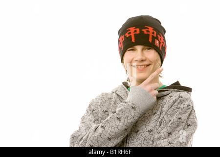 13-Year-Old Boy in einem coolen outfit - Stockfoto