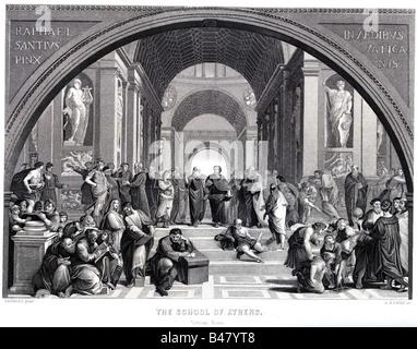 """Bildende Kunst, Raphael (1483-1520), """"Die Schule von Athen, Rom, 1512, Stahlstich von Albert Henry Payne, 19. Jahrhundert, - Stockfoto"""