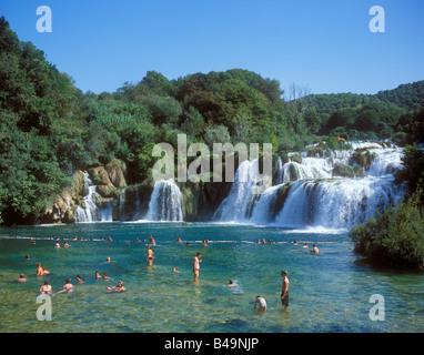 Wasserfall, Nationalpark Krka, Kroatien, Osteuropa - Stockfoto