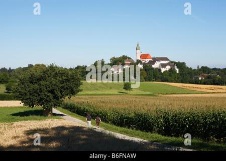 Andechs Kloster, Fuenfseenland, Oberbayern, Deutschland, Europa - Stockfoto