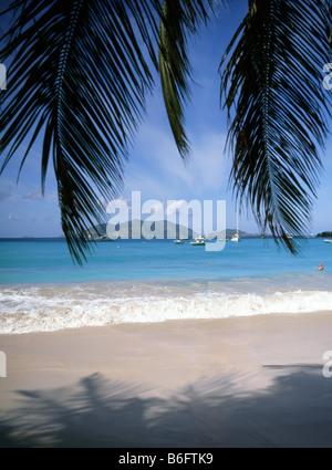 Surf Breaks auf Teil der Cane Garden Bay Strand durch Überhängende Palmen gesehen Blätter mit kleinen Booten und - Stockfoto
