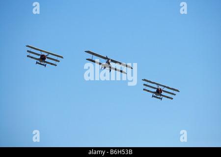 Zwei deutsche Fokker Dr 1 WWI Kämpfer Dreidecker und einem deutschen Pfalz D111-Doppeldecker - Stockfoto