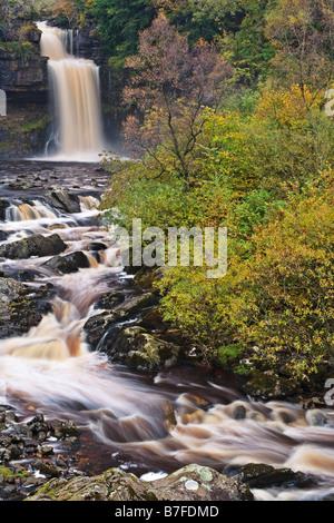 Thornton Kraft auf dem Fluß Twiss, eine Reihe von Wasserfällen auf dem Ingleton-Wasserfall-Trail in den Yorkshire - Stockfoto