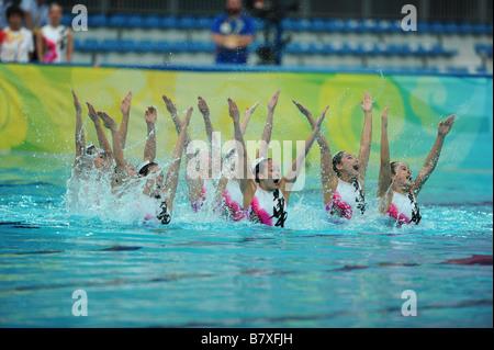 China Teamgruppe CHN 22. August 2008 Synchronschwimmen Beijing 2008 Olympische Spiele Team Event technische Routine - Stockfoto