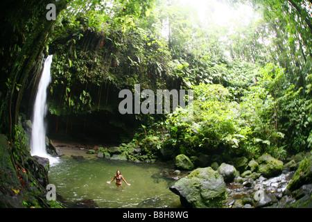 Frau stehend im Wasser der Emerald Pool im Dschungel des Morne Trois Pitons National Park auf der karibischen Insel - Stockfoto