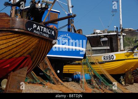 Angelboote/Fischerboote für die Stade in Hastings Sussex erarbeitet - Stockfoto