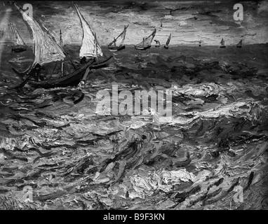 Eine Reproduktion von Vincent Van Gogh s Gemälde Seelandschaft in Saint Marie aus der Sammlung von Puschkin Museum - Stockfoto