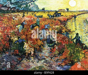 Reproduktion von Vincent Van Gogh s 1853 1890 Malerei rot Weinberge von Arles aus dem Puschkin Museum der schönen - Stockfoto