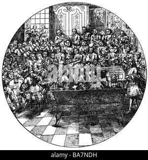 Händel, Georg Friedrich, 23.2.1685 - 14.4.1759, Deutscher Komponist, Dirigieren, Kupferstich, England, 18. Jahrhundert, - Stockfoto