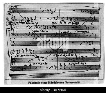 Händel, Georg Friedrich, 23.2.1685 - 14.4.1759, Deutscher Komponist, Handschrift, Blatt von Musik,, Additional-Rights - Stockfoto