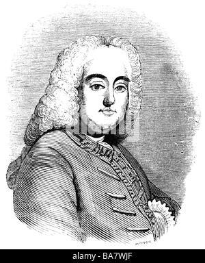Händel, Georg Friedrich, 23.2.1685 - 14.4.1759, Deutscher Komponist, Porträt, Radierung, 19. Jahrhundert, Additional - Stockfoto