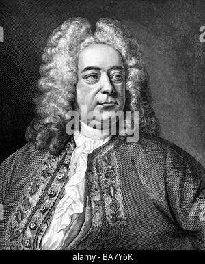 Händel, Georg Friedrich, 23.2.1685 - 14.4.1759, Deutscher Komponist, Porträt, Kupferstich, 18. Jahrhundert, Artist's - Stockfoto