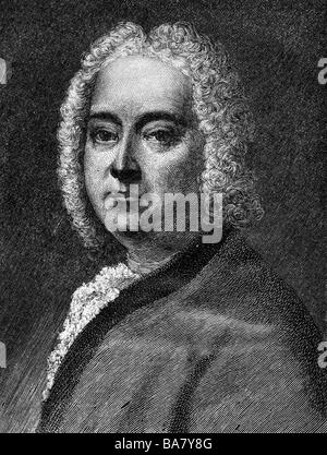 Händel, Georg Friedrich, 23.2.1685 - 14.4.1759, Deutscher Komponist, Porträt, holzstich von Moritz Klinkicht, 19. - Stockfoto