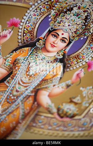 Hinduistische Göttin Lakshmi auf eine indische Poster dargestellt. Indien - Stockfoto