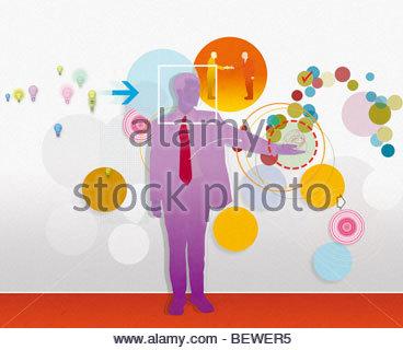Geschäftsmann mit Glühbirne und Kreis-Bildern im Hintergrund - Stockfoto