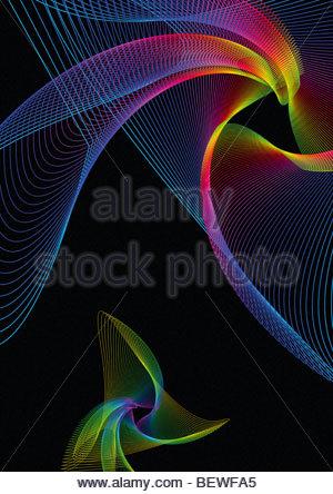 Wirbelnden Regenbogen farbige Linien - Stockfoto