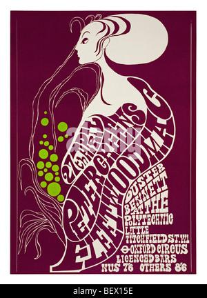 Plakat für Peter Green's Fleetwood Mac am London Polytechnikum in 1967 - Stockfoto