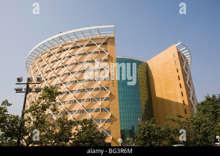 Geben Sie Cyber-Türme in High-Tech-Stadt, Hyderabad, Andhra Pradesh, Indien, Asien - Stockfoto