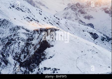 Verschneiten Dolomiten in der Nähe von Giau Pass, Trentino-Alto Adige/Suedtirol, Italien - Stockfoto