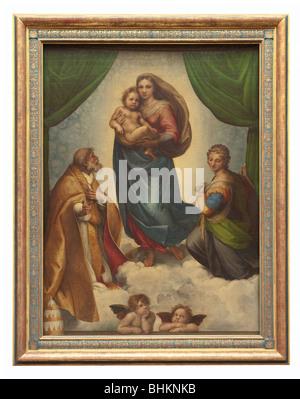 Sixtinische Madonna (Madonna mit Kind und Papst Sixtus II. und St. Barbara)-Öl-Gemälde von Raffaello Sanzio da Urbino - Stockfoto