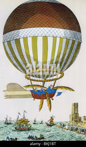 Ärmelkanal wird zum ersten Mal im Jahre 1785 von Dover nach Calais durch Jean-Pierre Blanchard und Dr. John Jeffries - Stockfoto