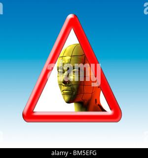 Warnung-Straßenschild mit Bild einer Frau. Konzeptionelle Bild von Stress und gefangen - Stockfoto