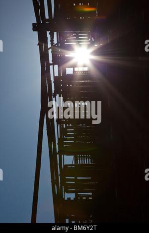 Feuerleiter in Cortlandt Gasse, Tribeca, New York City - Stockfoto
