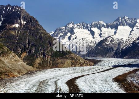 Der große Aletschgletscher - Stockfoto