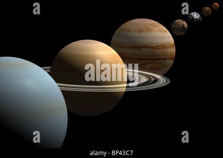 Alle acht Planeten des Sonnensystems in Übereinstimmung - Stockfoto