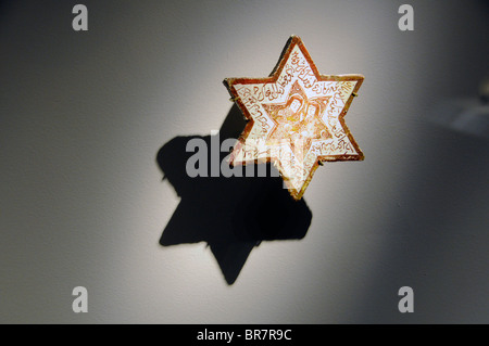 Ein Davidstern mit arabischer Schrift auf dem Display in das Institut du Monde Arabe, einem wichtigen arabischen - Stockfoto