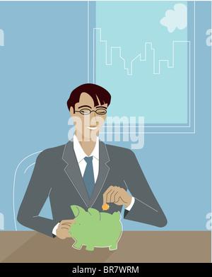 Geschäftsmann, die Einzahlung von Münzen in ein Sparschwein - Stockfoto