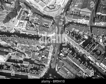 Luftaufnahme von Lichfield Street Wolverhampton Ortsbild des Britains ersten Ampel in den 1950er Jahren - Stockfoto