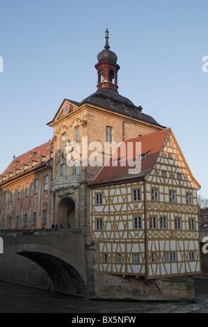 Gotische alte Rathaus (Altes Rathaus) mit Renaissance- und Teile der Fassade, Alstadt, Bamberg, Upper Franconia, - Stockfoto