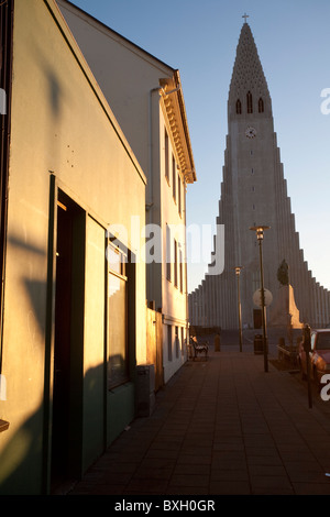 Hallgrimskirkja Kirche von Island Reykjavik Hallgrímskirkja Leif Eriksson Memorial Island. Foto: Jeff Gilbert - Stockfoto