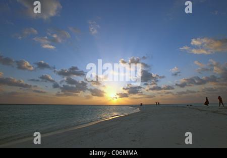 Sonnenuntergang über dem Strand mit Touristen im Hintergrund, Kuramathi Island Resort, Kuramathi, Rasdhoo Atoll, - Stockfoto