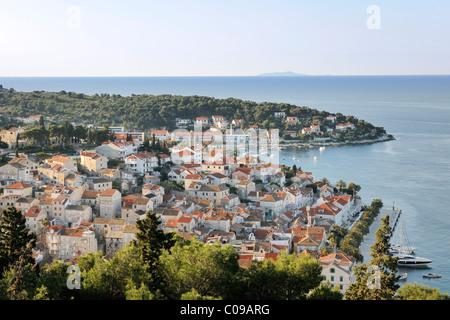 Blick von der Festung Spanjola auf Stadt Hvar, Insel Hvar, Kroatien, Europa - Stockfoto