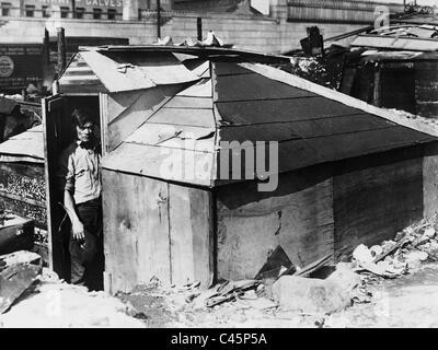 Hölzerne Schuppen in einem Slum in New York während der Weltwirtschaftskrise 1931 - Stockfoto