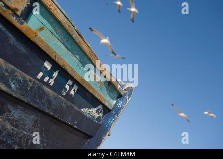 Möwen fliegen über getragen Fischerboot, beschnitten - Stockfoto