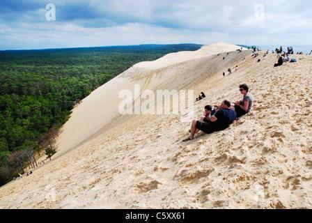 Blick von der Düne von Pilat (aka Düne von Pyla) von d ' Arcachon, Frankreich, die größte Sanddüne Europas: 107 - Stockfoto