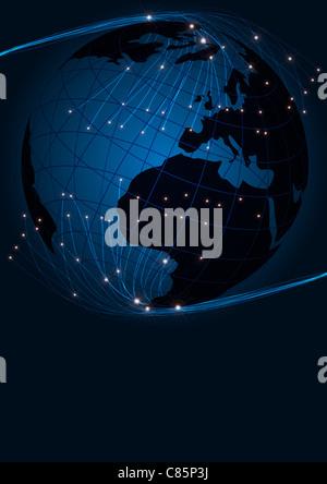 Zusammenfassung Hintergrund - Lichtwellenleiter und Globus auf dunkelblauem Hintergrund - Stockfoto